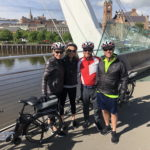 Group of cyclists on the Peace Bridge, Derry with Ireland by Bike