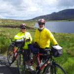Cyclists resting at Lough Auva Glencolmcille County Donegal Ireland