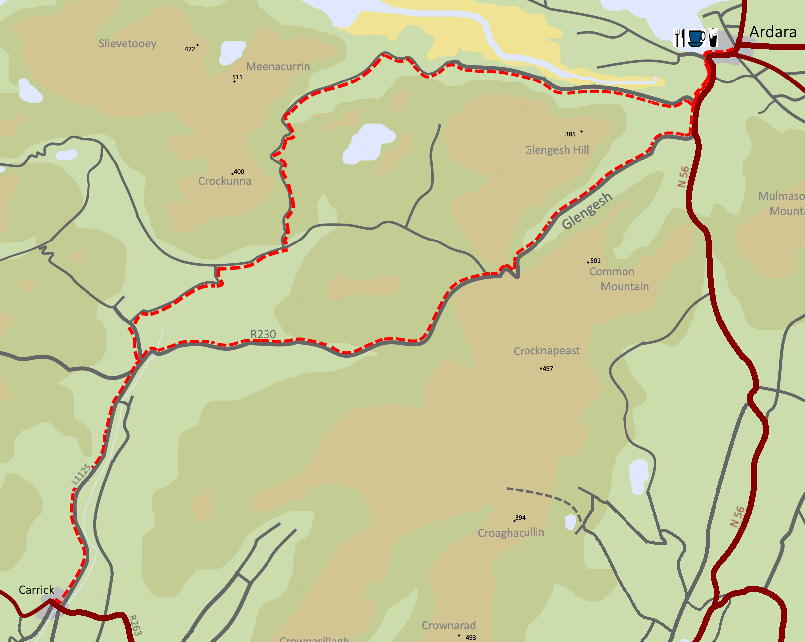 Map of a cycle route from Carrick to Ardara, Granny, and Glengesh Passes