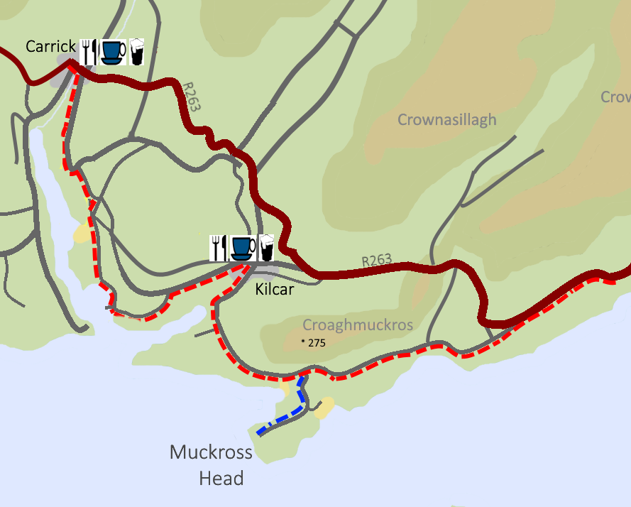 Map of cycle route from Carrick to Kilcar, the Secret Waterfall, and Muckross Head