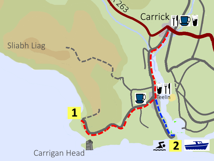 Map of the cycling route from Carrick to Teelin Pier and Slieve League Cliffs