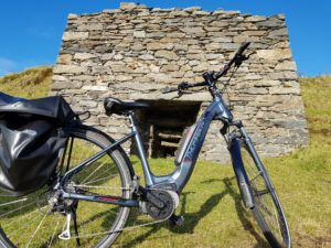 E-bike at Lime Kiln near Glencolmcille seen during Ireland by Bike cycling tour