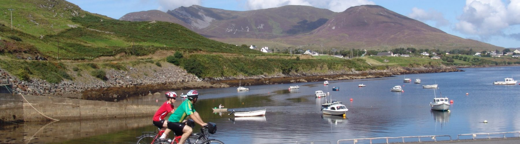 Cycling at Teelin Pier, Donegal